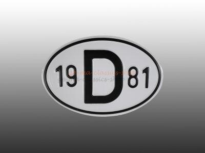 """""""D"""" Länderschild mit Jahr 1981"""