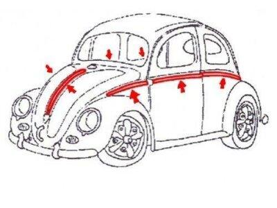 Alu Zierleisten für VW Käfer ab 73 1200er...
