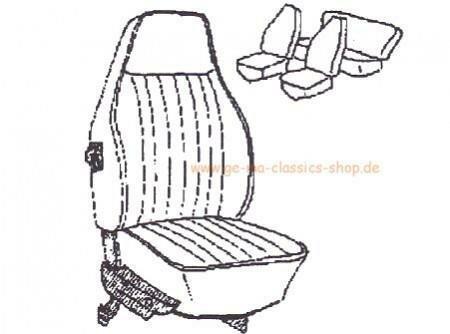 Sitzbezüge Käfer-Cabrio SCHWARZ 73 hoher Sitz