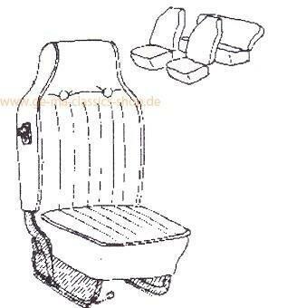 Sitzbezüge Käfer 68-69 Schwarz hoher Sitz