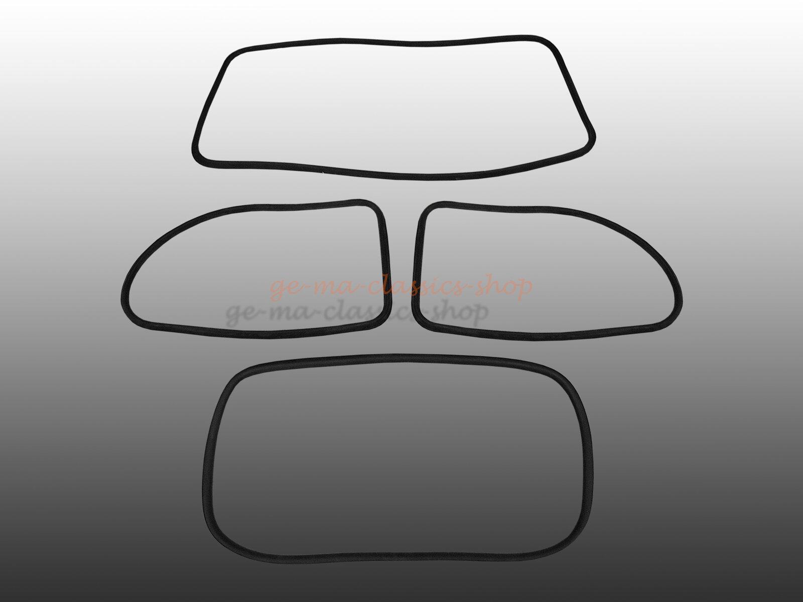Scheibendichtsatz für VW Käfer 1303 mit Nut für PVC Keder + Keder