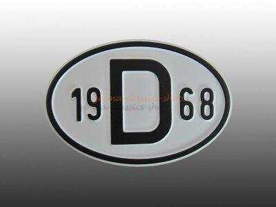"""""""D"""" Länderschild mit Jahr 1968"""