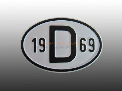 """""""D"""" Länderschild mit Jahr 1969"""