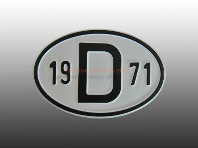 """""""D"""" Länderschild mit Jahr 1971"""