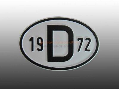 """""""D"""" Länderschild mit Jahr 1972"""